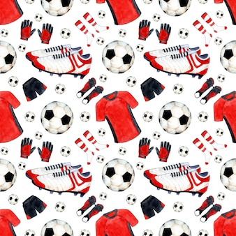 Padrão de ilustração em aquarela de formas e chuteiras de bola de futebol. impressão de repetição de esportes perfeita