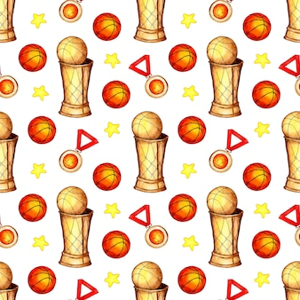 Padrão de ilustração em aquarela de medalha e estrelas do copo de bola de basquete.