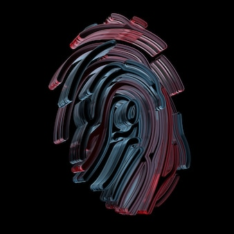 Padrão de impressão digital renderizado 3d feito de vidro. conceito de criptografia e segurança. símbolo de identificação do dedo.