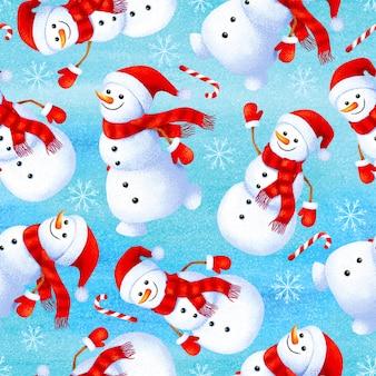 Padrão de inverno sem costura com boneco de neve engraçado