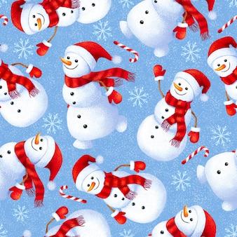 Padrão de inverno sem costura com bonecos de neve fofos
