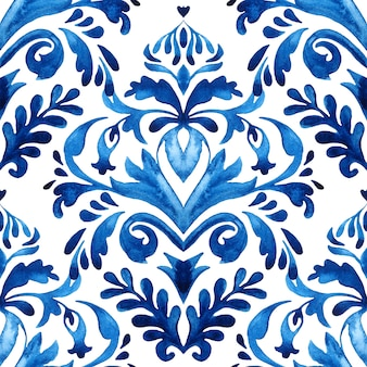 Padrão de ladrilho de tinta damasco para tecido e cerâmica