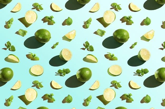 Padrão de limão com hortelã o. vista do topo.