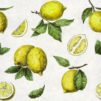 Padrão de limões inteiros e fatiados com folhas verdes e raspas em um fundo branco