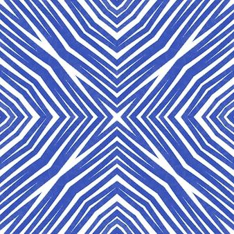Padrão de listras texturizadas. fundo de caleidoscópio simétrico índigo. design moderno de listras texturizadas. estampa decente pronta para têxteis, tecido de biquíni, papel de parede, embrulho.