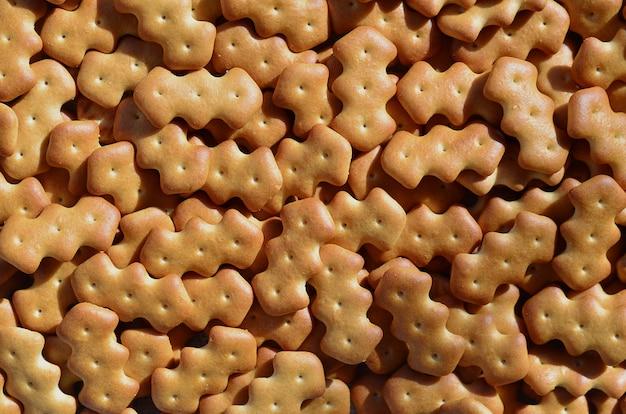 Padrão de muitos biscoitos salgados amarelos
