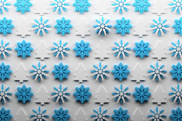 Padrão de natal com repetição de flocos de neve e árvores de natal