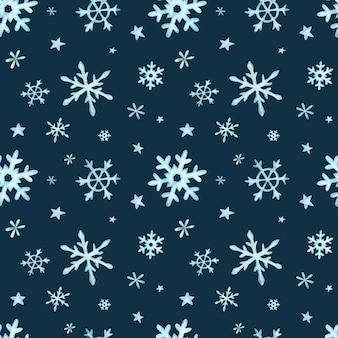 Padrão de natal de luz azul caindo flocos de neve