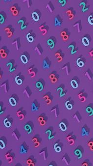 Padrão de número colorido brilhante. fundo roxo. ilustração vertical abstrata, renderização 3d.