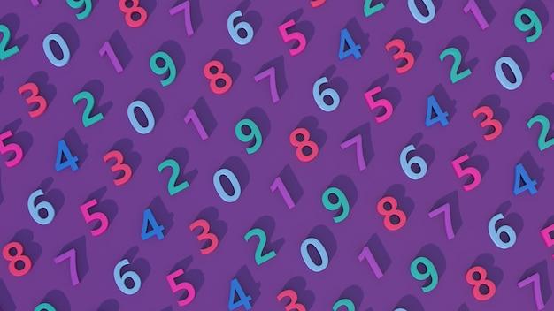 Padrão de número colorido. fundo roxo. ilustração abstrata, renderização 3d.
