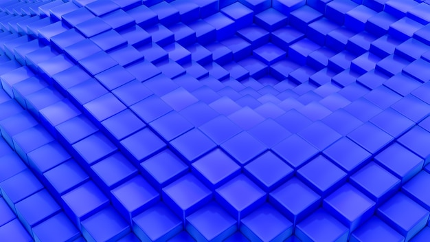 Padrão de ondas minimalistas feito de cubos. abstrato azul cúbico acenando o fundo futurista da superfície.