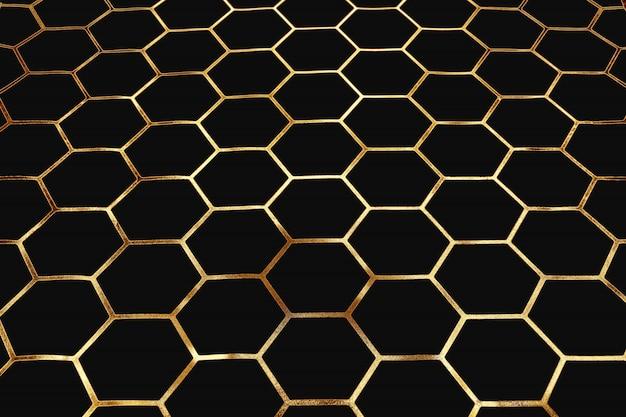 Padrão de ouro de células e pentágonos em fundo escuro