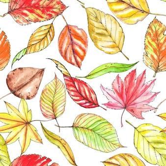 Padrão de outono repetido mão desenhada sem costura. folhas diferentes elegantes coloridas. aquarela e desenho a tinta