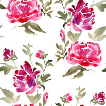 Padrão de peônias florais sem emenda em aquarela para tecido ou têxtil