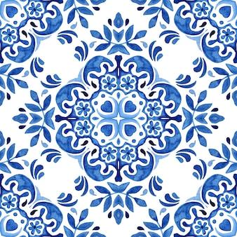Padrão de pintura abstrata sem costura ornamental aquarela damasco arabesco.