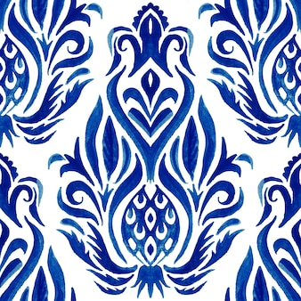 Padrão de pintura aquarela ornamental sem costura flor abstrata do damasco. textura de luxo elegante para papéis de parede, planos de fundo e preenchimento de página
