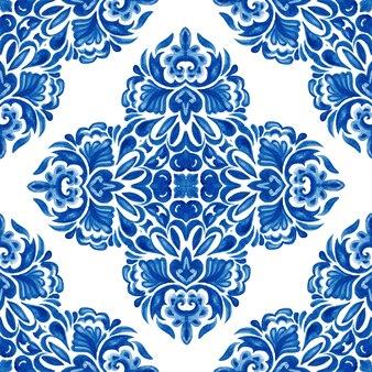 Padrão de pintura em aquarela ornamental sem costura com flor de damasco abstrata Foto Premium