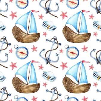 Padrão de pintura em aquarela veleiro âncora bússola boné sem pico e estrela do mar viagem de barco à vela