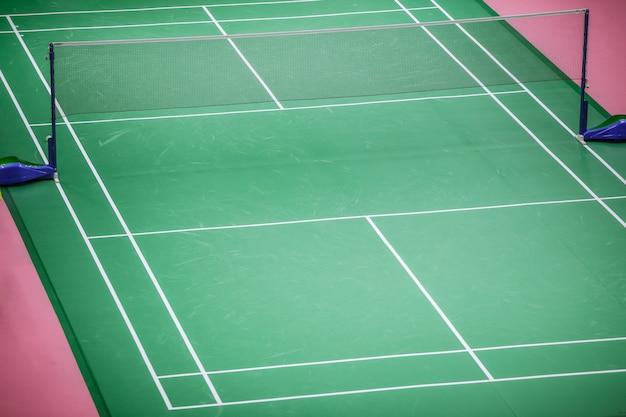 Padrão de piso verde de quadra de badminton no torneio master