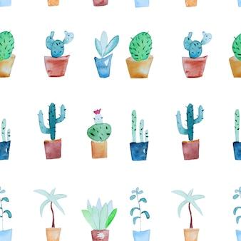 Padrão de plantas tropicais em aquarela