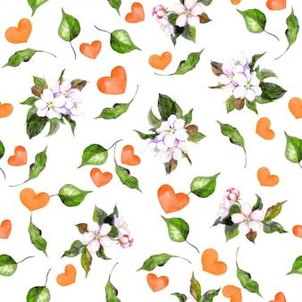 Padrão de primavera sem costura com flores e corações para dia dos namorados
