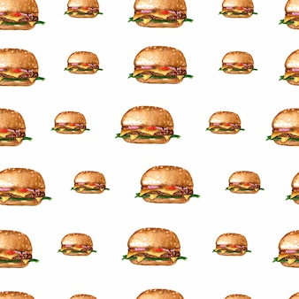 Padrão de repetição de hambúrguer aquarela