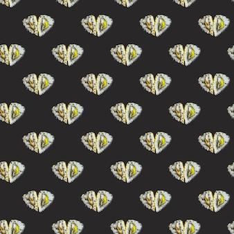 Padrão de rolos em forma de coração em um fundo preto. padrão isométrico de estilo moderno