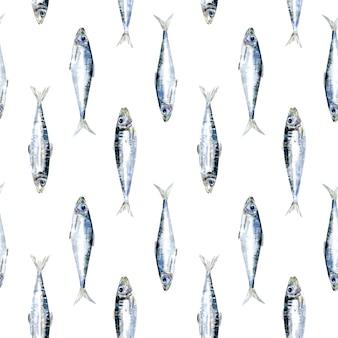 Padrão de sardinha em aquarela