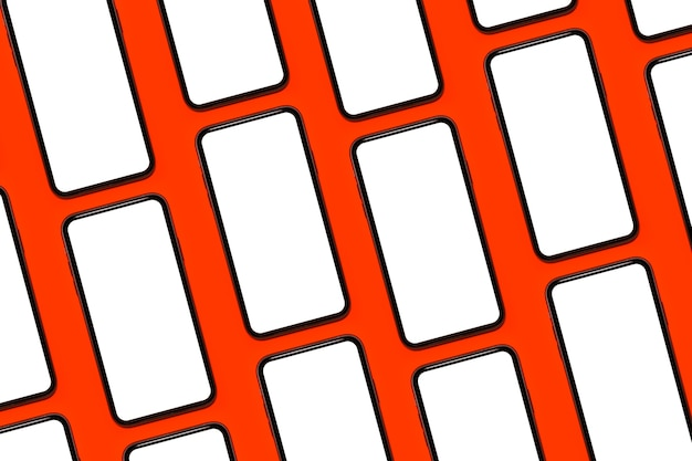 Padrão de smartphones com maquete isolado em um fundo de cor vermelha.