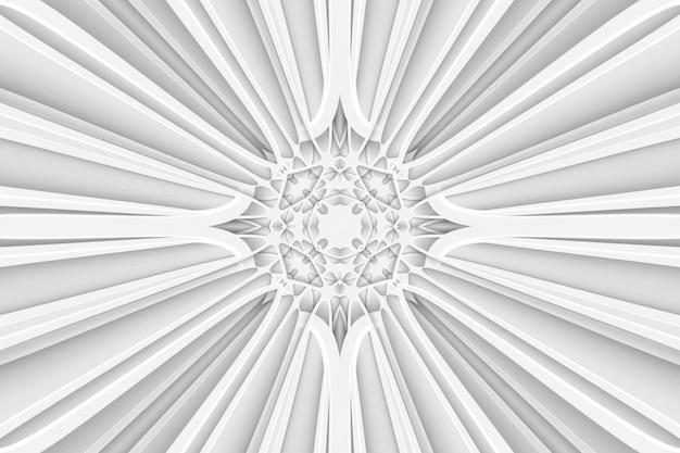 Padrão de teia de aranha alongado branco abstrato, padrão simétrico esticado. padrão 3d