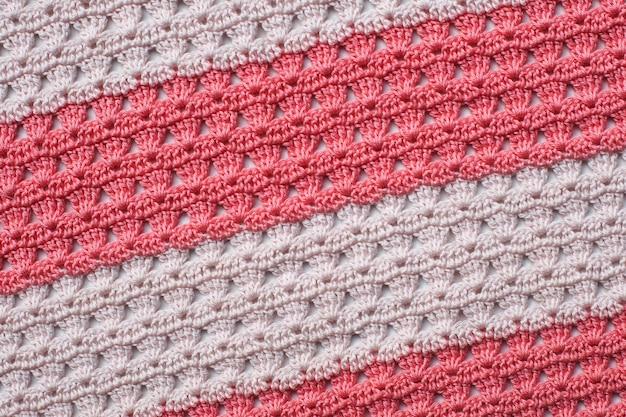 Padrão de tricô de malha rosa e branco, stipes.