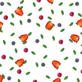 Padrão de verão baga menta morangos mirtilos cranberries isoladas em um fundo branco vista superior de um estilo simples