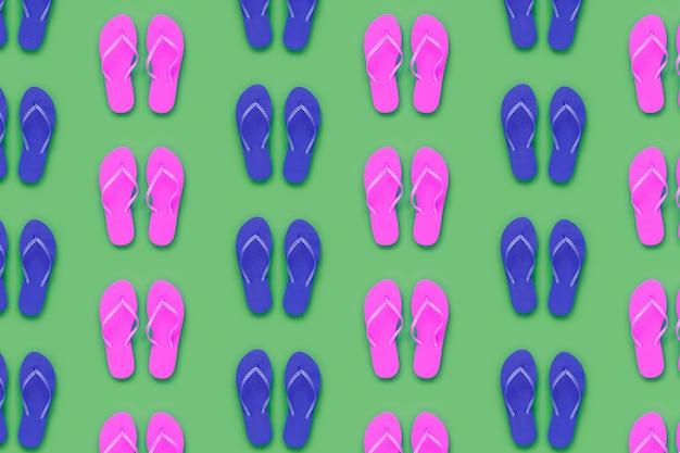 Padrão de verão com chinelos azuis e cor de rosa
