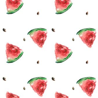 Padrão de verão com uma fatia de melancia vermelha com aquarela de ossos