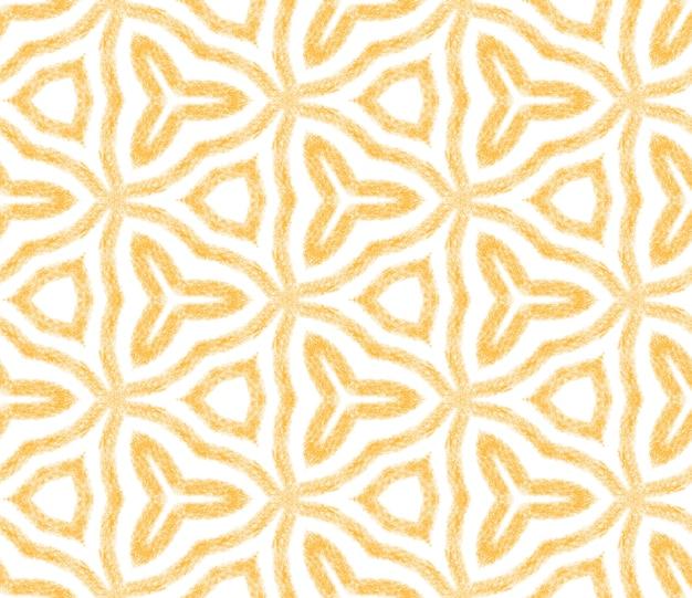 Padrão desenhado de mão arabesco. fundo amarelo caleidoscópio simétrico. estampado lindo pronto para têxteis, tecido para biquínis, papel de parede, embrulho. design de mão desenhada oriental arabesco.
