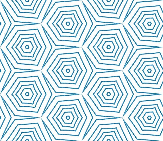 Padrão desenhado de mão arabesco. fundo azul do caleidoscópio simétrico. design de mão desenhada oriental arabesco. impressão preciosa pronta para têxteis, tecido de biquíni, papel de parede, embalagem.