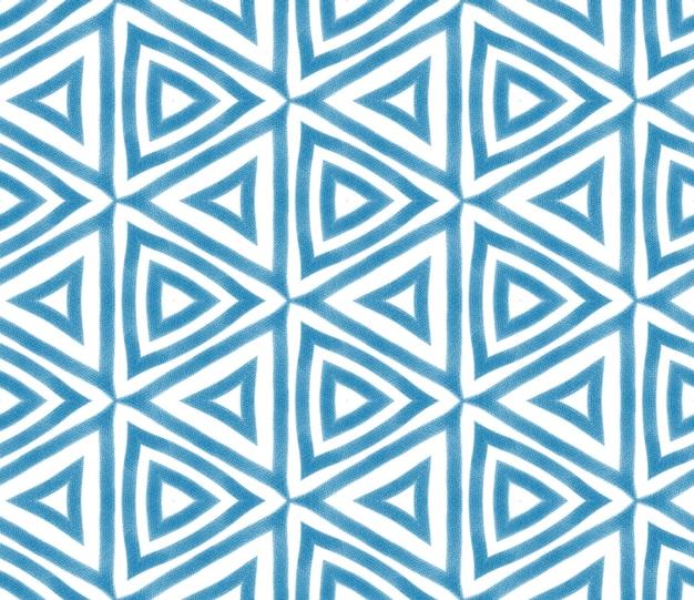 Padrão desenhado de mão listrado. fundo azul do caleidoscópio simétrico. repetindo a telha desenhada à mão listrada. têxtil pronto para impressão bonita, tecido de biquíni, papel de parede, embrulho.