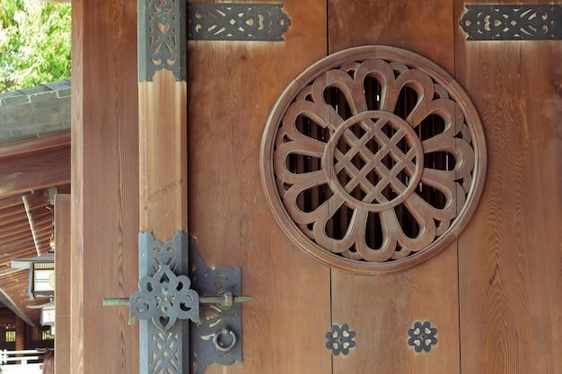 Padrão detalhado de porta de madeira aberta do templo japonês em tóquio