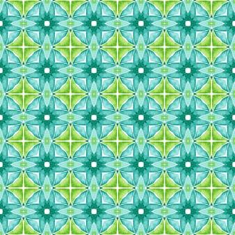 Padrão em aquarela de divisa. design de verão chique boho verde proeminente. estampado incrível pronto para têxteis, tecido de biquíni, papel de parede, embrulho. borda de aquarela chevron geométrica verde.