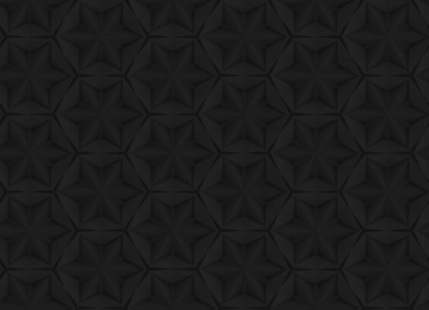Padrão escuro de geometria tridimensional com flores de seis pontas