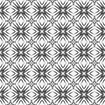 Padrão étnico pintado à mão. design chique do verão do boho fabuloso preto e branco. padrão de fronteira étnica de verão em aquarela. têxtil pronto para impressão digna, tecido de biquíni, papel de parede, embrulho.