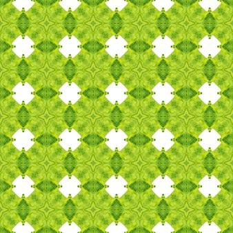 Padrão étnico pintado à mão. design de verão chique boho atraente verde. padrão de fronteira étnica de verão em aquarela. pronto para têxteis impressão real, tecido de biquíni, papel de parede, embrulho.