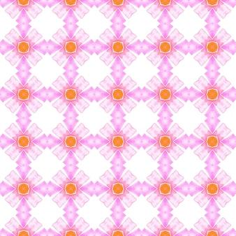 Padrão étnico pintado à mão. design de verão chique boho laranja ideal. padrão de fronteira étnica de verão em aquarela. têxtil pronto para impressão imaculada, tecido de biquíni, papel de parede, embrulho.
