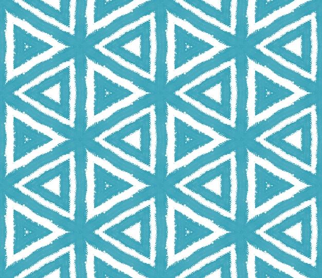 Padrão étnico pintado à mão. fundo de caleidoscópio simétrico turquesa. vestido de verão étnica pintada à mão em azulejo. estampado bonito pronto para têxteis, tecido de biquíni, papel de parede, embrulho.