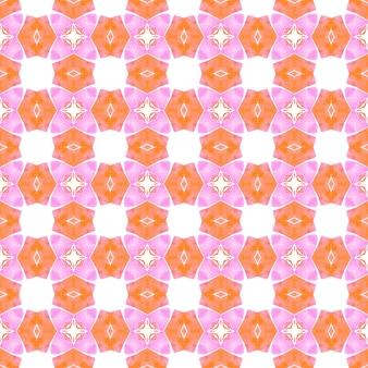 Padrão étnico pintado à mão. projeto chique do verão do boho curioso laranja. padrão de fronteira étnica de verão em aquarela. estampado moderno pronto para têxteis, tecido para biquínis, papel de parede, embrulho.