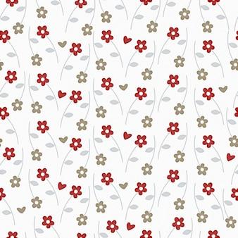 Padrão floral ditsy perfeito com florzinhas fofas no fundo branco
