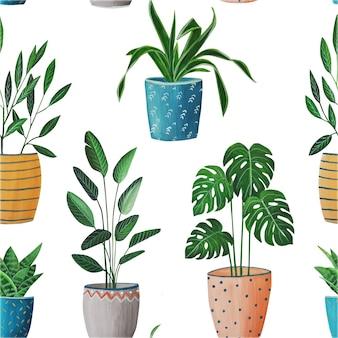 Padrão, flores da casa em vasos, pintadas à mão com guache, emitindo pintura a óleo, monstera, cacto, planta tropical