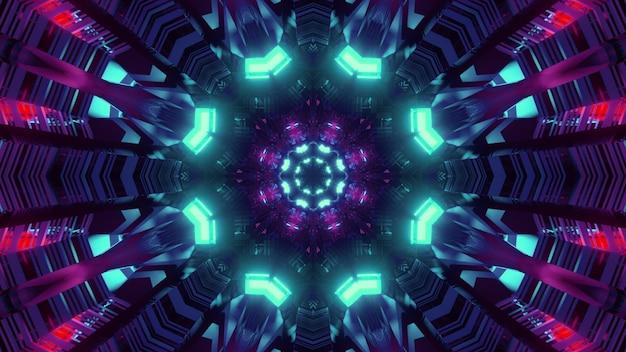 Padrão geométrico colorido com ilustração 3d de luzes de néon