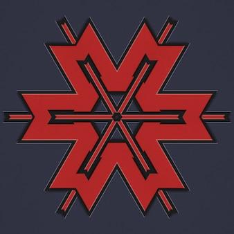 Padrão geométrico de cor vermelha, estilo celta escandinavo. ilustração de um fundo abstrato do teste padrão tecido. elementos de um padrão geométrico em um fundo escuro