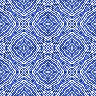 Padrão geométrico sem emenda. fundo de caleidoscópio simétrico índigo. estampa energética têxtil pronta, tecido de biquíni, papel de parede, embrulho. desenho geométrico de desenho sem costura.